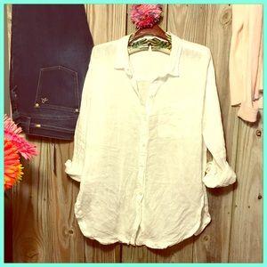 💖 Gorgeous Washable linen long white button down